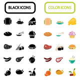 Set of thirty black and color food icons Royalty Free Stock Photo