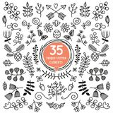 Set of thirty five unique  elements. Black and white ornate Stock Photos