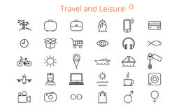 Set of thirty  flat line icons for a site or booklet about travel and leisure Royalty Free Stock Photography