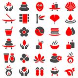 Set Of Thirty Wellness Icons Red And Gray stock illustration