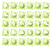 Set of thirty round environmental green icons Stock Photos