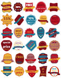Set of Thirty Vector Badges with Ribbons. Web stickers and labels. royalty free illustration