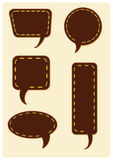 Set of thread stitched speech bubble balloons Royalty Free Stock Photo