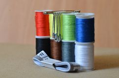 Set of threads with pins stock image