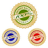Set of Three 100% Money Back Guarantee Emblem Seal. S Stock Photography
