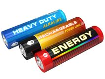 Set of three AA batteries. Three different AA batteries isolated over white Royalty Free Stock Images