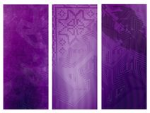 Purple banners. Set of three abstract banners Royalty Free Stock Photo