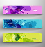 Set of three abstract colorful headers. Vector art Stock Images