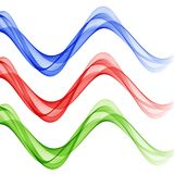 Set of three abstract colorful waves of transparent flying material. On a white background stock illustration