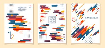 Set of three Abstract compositions from rounded bands, futuristic and modern colors. Vector templates for posters. Banners, flyers and presentations Royalty Free Stock Images