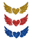 Set of three abstract hearts with wings sparkle on white background Royalty Free Stock Photo