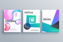 Set of three abstract minimal brochure design template for magaz Stock Images