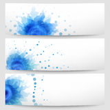 Set of three abstract white-blue banners Stock Photo