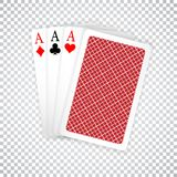 Set of three aces and one closed playing cards suits. Winning poker hand vector illustration