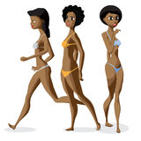 Set three afro black women dressed in swimsuit is standing Stock Image