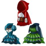 Set of three ancient dresses with hood. Collection of clothes for girl, including corset and raincoat. Wardrobe of woman. Image in cartoon style. Vector Stock Images