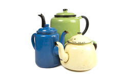 Set of three antique kettles Stock Images