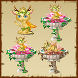 Set of three antique vases with gold elf figure Royalty Free Stock Photo