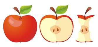 Set of three apple icons. Royalty Free Stock Photos