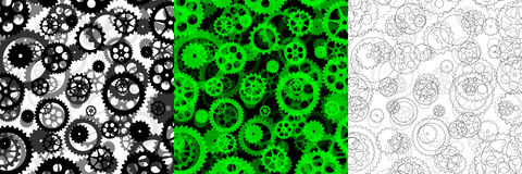 Set of three backgrounds with gears Royalty Free Stock Images