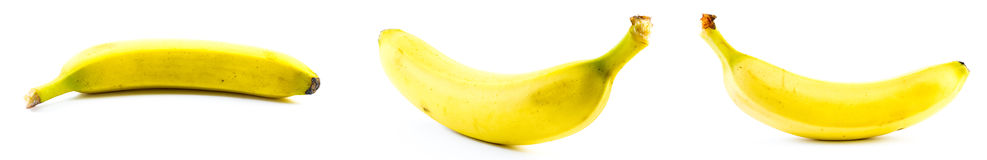 Set of three bananas on a white background Stock Images