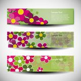 Set of three banner designs with flowers Royalty Free Stock Photo