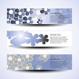Set of three banner designs with flowers Royalty Free Stock Images