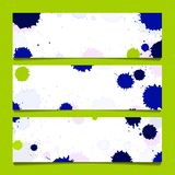 Set of three banners, abstract headers. Set from three banners with watercolor inkblot Royalty Free Stock Photo