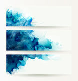 Set of three banners, abstract headers with blue blots Stock Photos