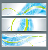 Set of three banners. Abstract headers with blue lines Royalty Free Stock Photos