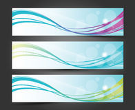 Set of three banners, Abstract headers with lighting wave Stock Images
