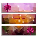 Set of three banners with bow Stock Image