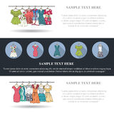 Set of three banners with fashionable women's clothes Royalty Free Stock Image