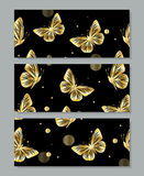 Set of three banners with gold butterflies Stock Photos
