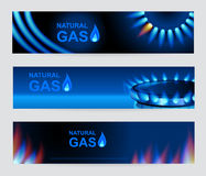 Set of three banners natural gas. Blue gas flame. Royalty Free Stock Images