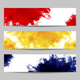 Set of three banners with paint splashes Royalty Free Stock Photos