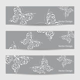 Set of three banners with paper butterflies Stock Photos