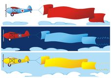 Set of three banners with plane Stock Photo