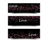 Set of three banners with red hearts. Valentine`s Day. Vector background. Pink and red hearts on a black background. The inscription love is white Royalty Free Stock Photo