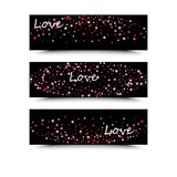 Set of three banners with red hearts. Valentine`s Day. Vector background. Pink and red hearts on a black background. The inscription love is white Royalty Free Stock Images