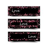 Set of three banners with red hearts. Valentine`s Day. Vector background. Pink and red hearts on a black background. The inscription love is white Royalty Free Stock Image