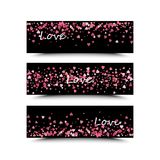 Set of three banners with red hearts. Valentine`s Day. Vector background. Pink and red hearts on a black background. The inscription love is white Stock Image