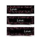 Set of three banners with red hearts. Valentine`s Day. Vector background. Pink and red hearts on a black background. The inscription love is white Stock Photo
