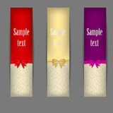 Set of three banners with ribbons. vector Stock Photos