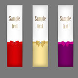 Set of three banners with ribbons. vector Royalty Free Stock Photo
