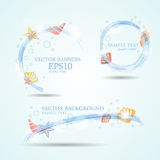 Set of three banners with seashells.Vector illustration of fresh Stock Photography