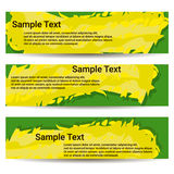 The set of three banners. Yellow green hues of colors. Royalty Free Stock Images