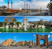 Set of three Barcelona panoramas Stock Images