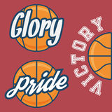 Set of Three Basketball Team Logo with Ball Royalty Free Stock Photos
