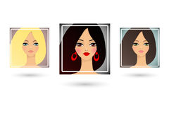 Set of three beautiful girls avatar Royalty Free Stock Photos